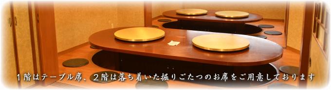 1階はテーブル席、2階は落ち着いた掘りごたつのお席
